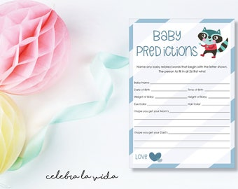 Instant Download Baby Predictions Game. Baby Shower Game. Printable Baby Boy Shower Game. Blue