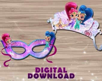 Shimmer and shine mask - tiara party - DIY birthday decoration - digital download