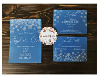 Snowflake Wedding Invitation Set Printable Template