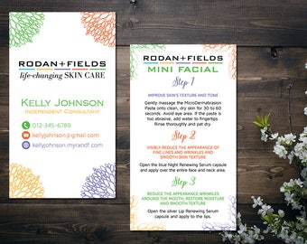 PERSONALIZED Rodan and Fields Business Cards, Rodan and Fields Mini Facial Card, Fast Personalized, Modern Business Cards RF14
