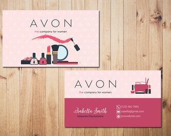 PERSONALIZED Avon Business Cards, Custom Avon Business, Make Up Business Card, Custom Business Card, Printable Card AV01