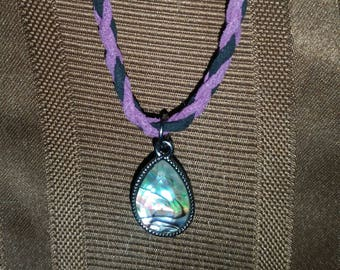 Braided suede necklace with pendant
