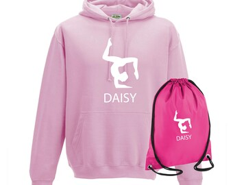 iLeisure Girls Personalised Three Leg Pose Gymnastics Hoody and Gym Bag Bundle