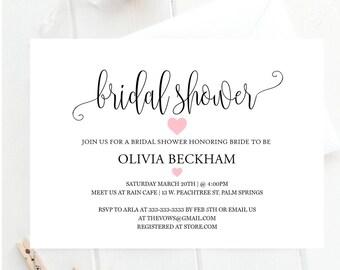 Bridal shower invitation, Elegant signature bridal shower invitation, Elegant font pink heart bridal shower invitation, bridal invitation