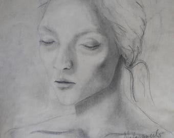 """Charcoal on parchment - 18"""" x 24"""" - """"Annabelle"""""""