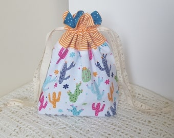 Cactuses - Small Drawstring Project Bag- Knitting, Crochet Project Bag - Handmade.