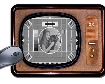 Vintage Television Mouse Mat. The Test Card In Black & White High Quality TV Mouse Pad