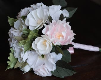 Crepe paper blush and cream wedding bouquet - Peony rose and poppy arrangement