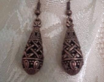 Drop earrings openwork bronze