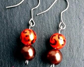 Beautiful hand-painted orange & brown handmade earrings