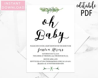 Greenery Baby Shower Invitation Template, Baby Shower, Shower Invite, Shower Invitation, Invitation Template, Baby Shower Template