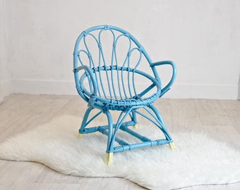 BLUE RATTAN CHAIR
