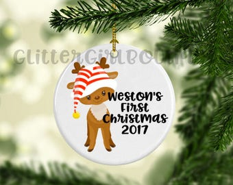 Baby's First Christmas Ornament, Custom Ornament, Personalized Ornament, Baby's First Ornament, Porcelain Ornament, Animal Ornament |