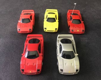 Lot Of 5 Tyco Ferrari F40 w/stripe and emblem 440X2 Slot Cars Red Yellow Silver
