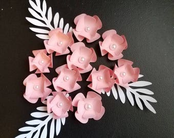 """Set of 10, 2"""" Paper Flowers with Leaves, Extra Small Paper Flowers, Party Decor, Scrapbooking, Cardmaking"""