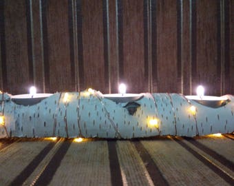 Yule log candle, yule altar decor, Natural white birch wood, Rustic Birch Candle Holder with 3 Tea Light Candles, illuminated by 20 LEDs