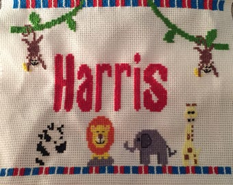 Cross stitch with name baby/child design