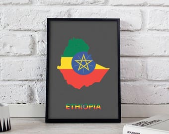 Ethiopia art Country Map poster wall art wall decor Gift print
