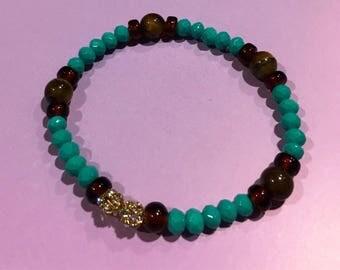 Charming Aqua/ Tiger Eye Bracelet