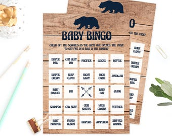Rustic Baby Bingo Printable, Baby Bear Baby Bingo Prefilled, Wood Bingo Cards Baby Shower, Baby Bingo Boy Baby Shower, Woodland Themed, BBL