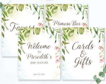 Greenery Baby Shower Sign Set Green Party Decorations Packages Watercolor Leaves Welcome Sign Wedding Instant Download Favors Signage LB2