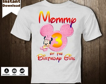 Minnie Mouse Iron On Printables Transfer Disney T-Shirt Transfer Image Mom Birthday Girl DIY Minnie Mouse  Birthday Shirt - DIGITAL FILE