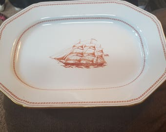 "12""oval serving platter..Spode tradewinds"