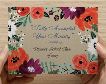 "JW ""Fully Accomplish Your Ministry"" Pioneer School 2017 Graduation Post Card / Flat Cards / Frame / Gift for Pioneers"