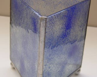 Fused glass vase with aluminum legs