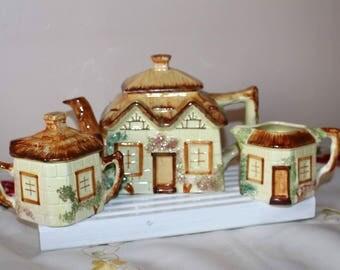Tea Pot set house, Paramount Pottery, vintage teapot,full set teapot, vintage sugar and milk set, vintage ceramic tea pot, old tea pot