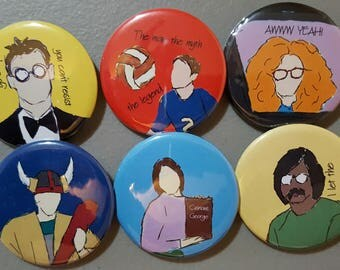 Studio C Inspired Pin Back Buttons - Set of 6