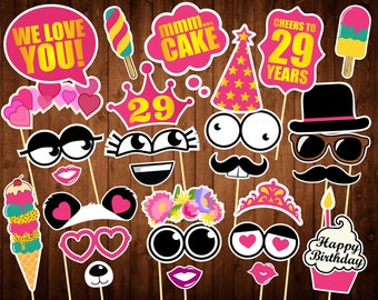 29th Birthday Photo Booth Props - Sweet Birthday Party Ideas - Pink Birthday - Printable PDF - 29 Birthday Party