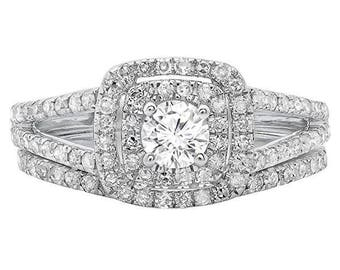 1.0 CTW Round/Halo Cut Diamond Engagement Ring 10K White Gold