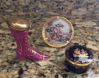 Limoges Hand Painted Collectibles: Victorian Boot, Miniature Plate, Trinket Box