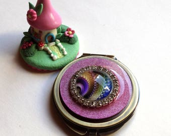 Bronze color Pocket mirror with cabochon in shades of pink and rhinestone