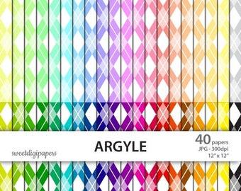 SALE 50% Argyle Digital Paper Pack, Colorful Background, Argyle Scrapbook Paper, Rainbow Scrapbook, Rainbow Argyle, Background