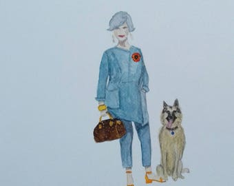 Custom made portrait with your dog.  This is an example and is Beth and Oscar