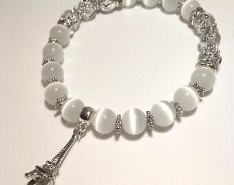 Paris White Bead Bracelet