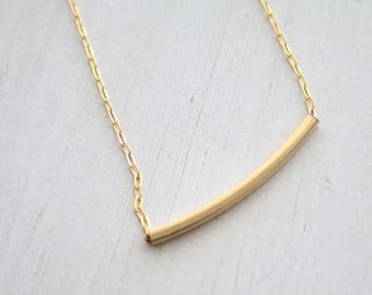 Gold filled bar necklace, curved bar necklace, Gold necklace, minimalist jewelry, modern jewelry, elegant gold bar, bar jewelry, 14k filled