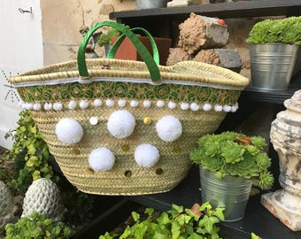 Green and white basket