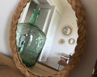 oval shaped rattan mirror