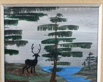 Elk and Pine Tree