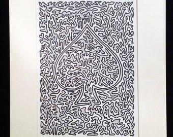 Ace of Spades - Original Artwork, Light Ggray