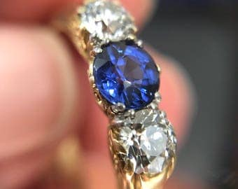 Antique late Victorian sapphire and diamond carved half hoop ring