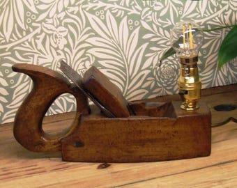 Victorian wood plane desk lamp