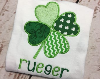 St Patricks shamrock applique short/long sleeve/raglan shirt with name Toddler and Youth size FREE SHIPPING