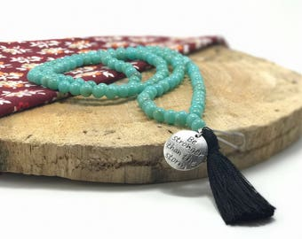 Beaded Lanyard, Turquoise Bead Lanyard, Teacher Beaded Lanyard, Beaded Charm Tassel Lanyard and Badge Holder, Lanyard Free Shipping