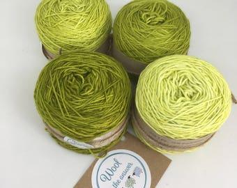 Hand Dyed 4 ply Superwash Merino -Gradient set Olive Green