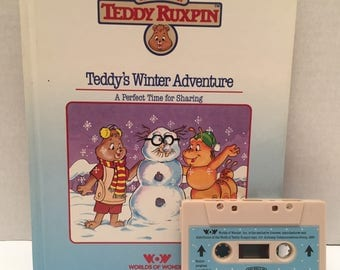 Teddy Ruxpin , Teddy's Winter Adventure Book with cassette tape.