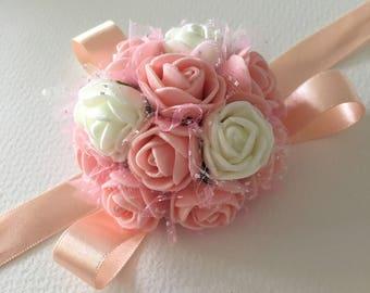 Peach Foam Rose Wedding Wrist Corsage